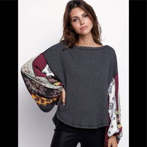 NWT Free People Blossom Thermal Bell Sleeve Top